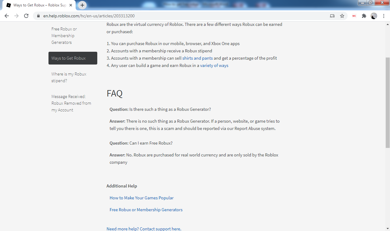 Roblox FAQs section