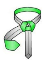 Bring the thick end down from the collar loop, behind the knot