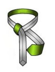 Create a horizontal band across the knot's